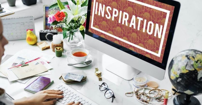 Computer screen displaying the word Inspiration