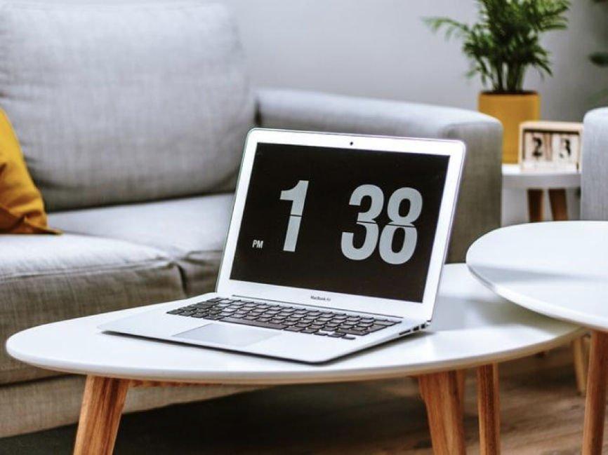 Clock displayed on a laptop screen