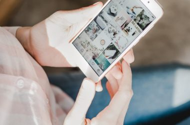 Woman looking at Instagram on smartphone