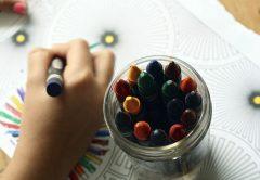 Child drawing in kindergarten