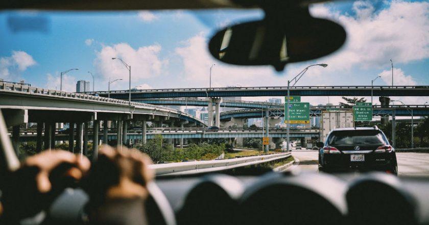 Car driving in traffic
