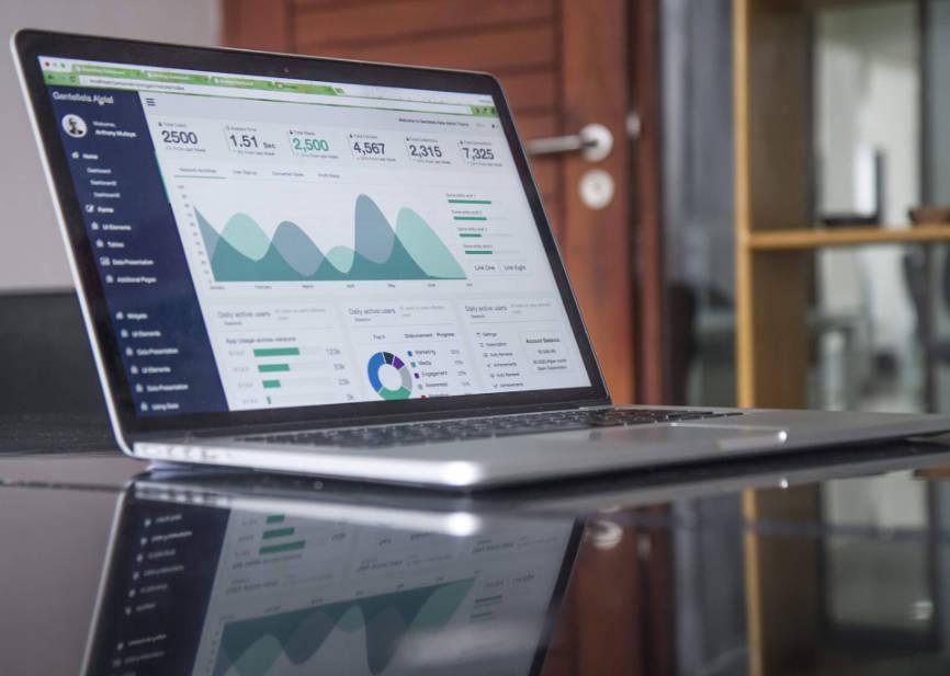 Laptop displaying website traffic on Google Analytics