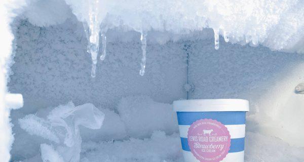 Pint of Strawberry ice cream in a freezer