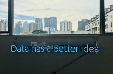 """Skyline view of downtown with caption, """"data has a better idea"""""""