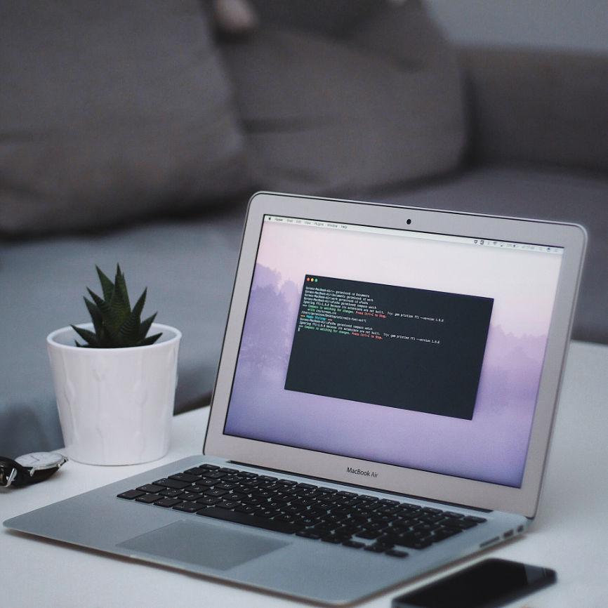 Laptop running terminal