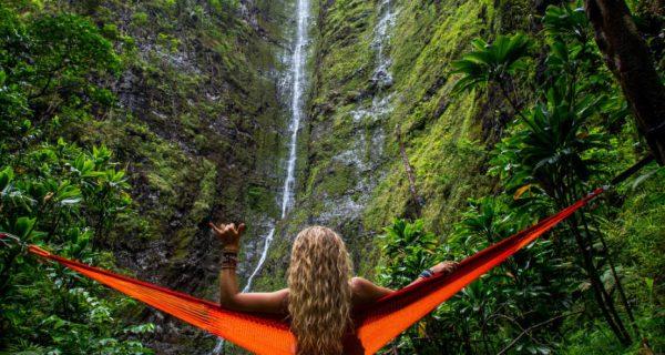 Lady in a hammock enjoying a beautiful view