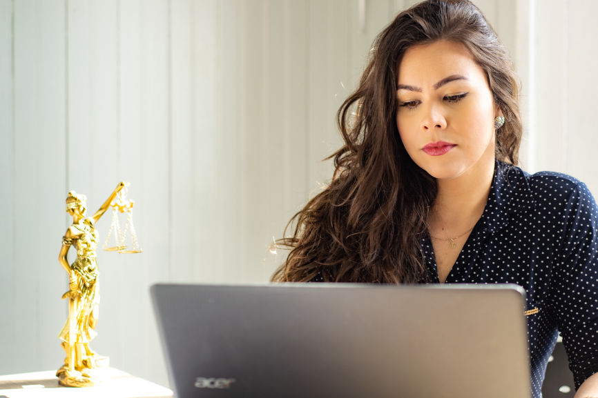 Family Lawyer attorney in front of laptop