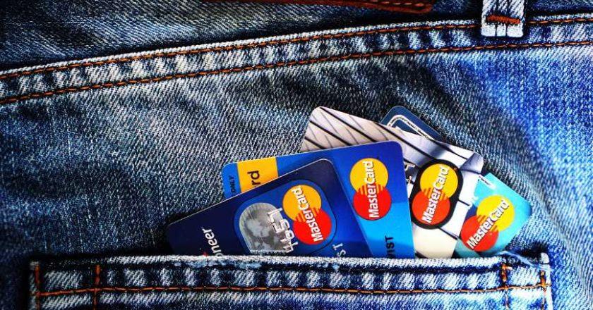 Credit cards in back pocket of blue jeans