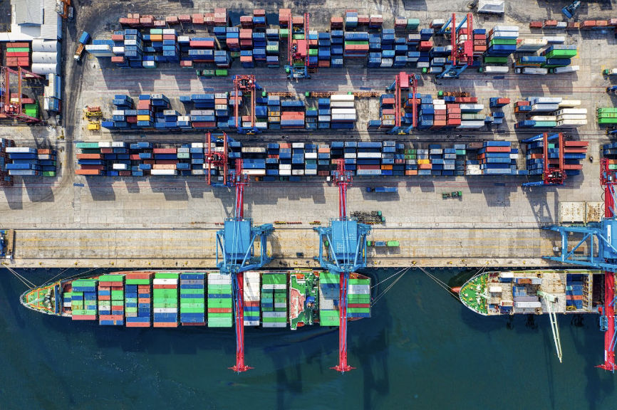 Birds-eye View Photo of Freight Containers