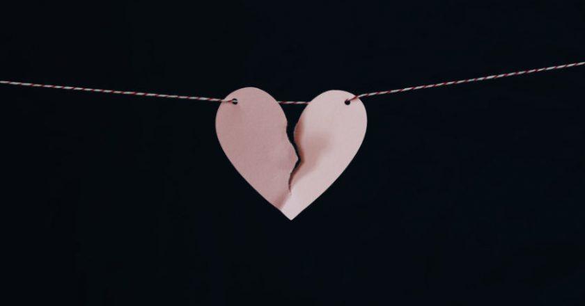 Broken heart on a chain representing divorce