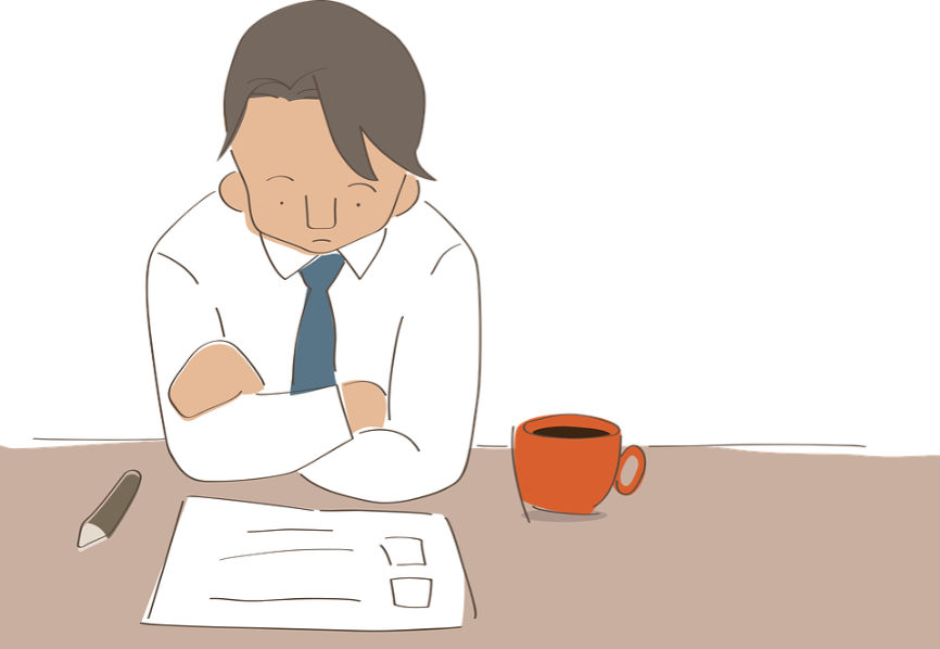 Illustration of person at desk with paperwork and a cup of coffee