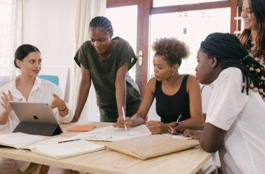 Women discussing rental property