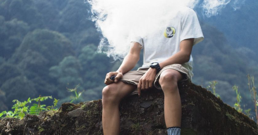 Vaping while sitting on the edge