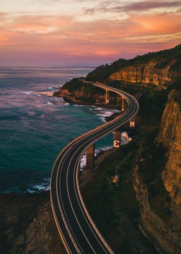 Winding road along a coast