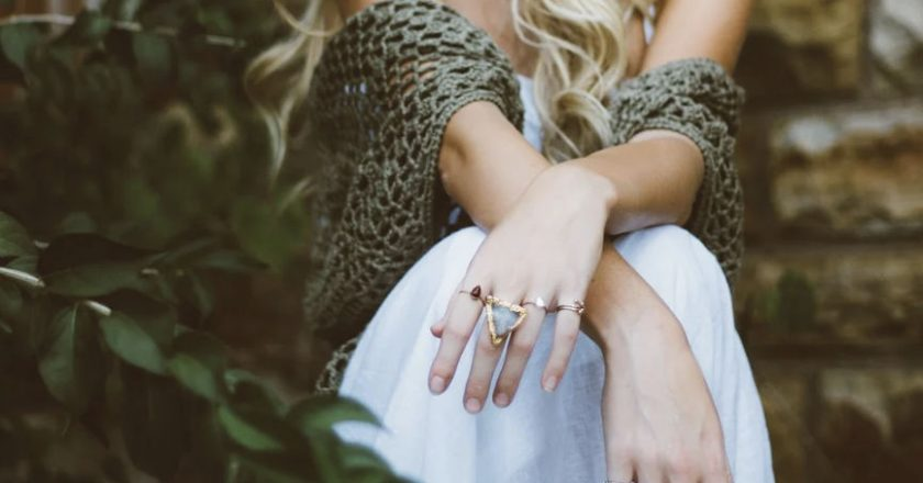 Seated woman wearing Jewelry