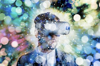 Abstract of man wearing VR headset in the Metaverse