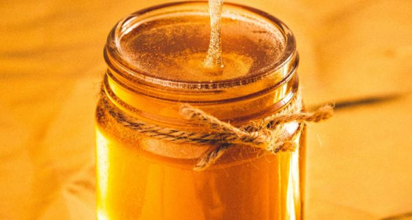 Jar of golden honey