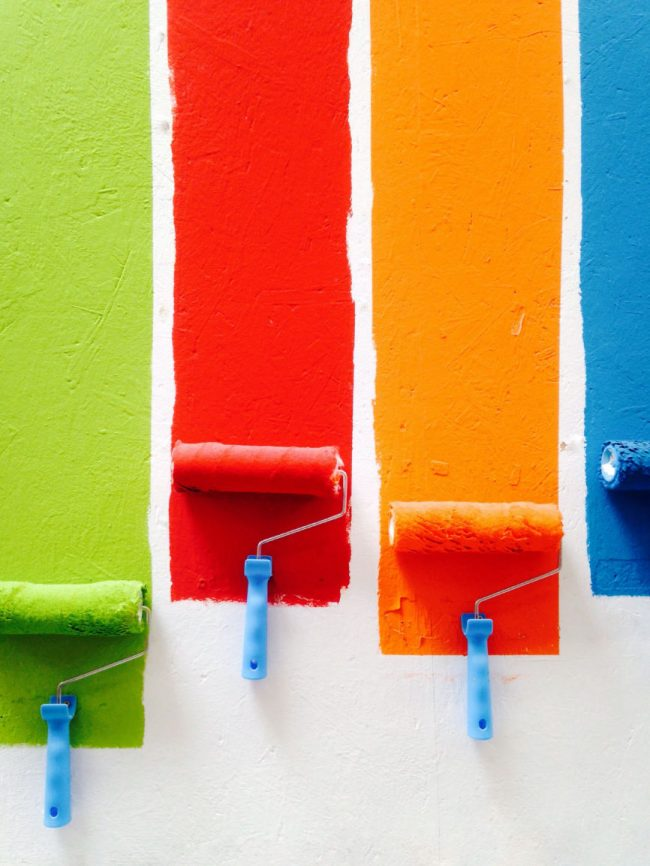 Green, red, orange, blue, Paint rollers